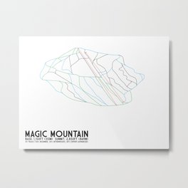 Magic Mountain, VT - Minimalist Winter Trail Art Metal Print