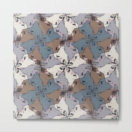 Frenchie Yoga Tessellations Metal Print