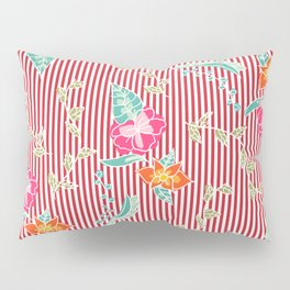 Modern trendy red flame scarlet stripes tropical bright floral pattern Pillow Sham