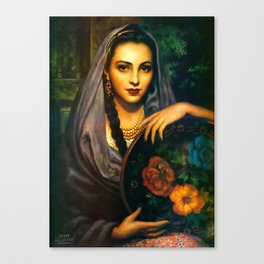 Jesus Helguera Painting of a Calendar Girl with Dark Shawl Canvas Print