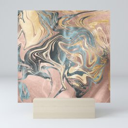Liquid Gold and Rose Gold Marble Mini Art Print