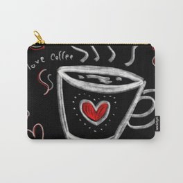 I love Coffee / Doodle art Typography Black Background  Carry-All Pouch