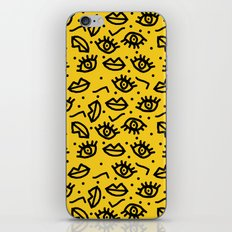 Face Time - retro throwback minimal pattern eyes faces 1980s 80s vintage memphis drawing monochrome iPhone & iPod Skin