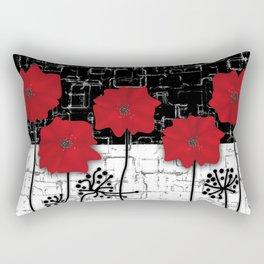 Retro. Red poppies on white background sulfur. Applique. Rectangular Pillow
