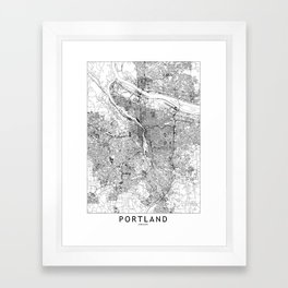 Portland White Map Framed Art Print