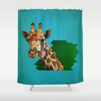 giraffe Shower Curtains featuring giraffe by gazonula