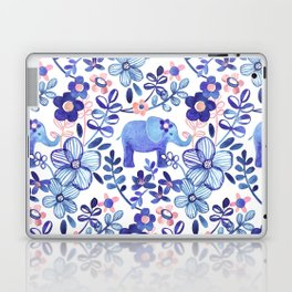 Pale Coral, White and Purple Elephant and Floral Watercolor Pattern Laptop & iPad Skin