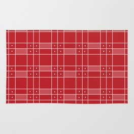 Red Squares and Dots Rug