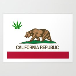 California Republic state flag with green Cannabis leaf Art Print