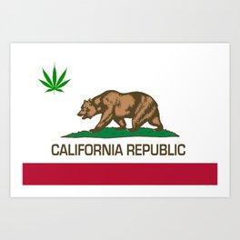 California Republic state flag with green Cannabis leaf Art Print