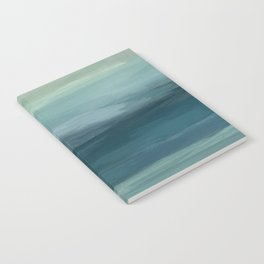 Seafoam Green Mint Navy Blue Abstract Ocean Art Painting Notebook