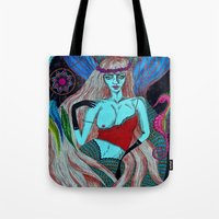 hippy Tote Bags featuring Hippy Marmeid by Ša Rūnė