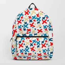 Khaki and Red and Blue X Pattern Backpack