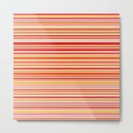 Old Skool Stripes - Red Pumpkin - Horizontal Metal Print
