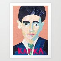 kafka Art Prints featuring Franz Kafka by Ellen Pater