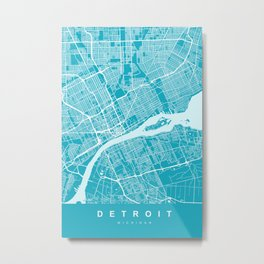 Detroit Map Michigan | Blue & Cyan II | More Colors, Review My Collections Metal Print