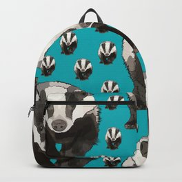Badger Pattern on Teal / Turquise Backpack