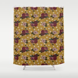 Polka Dots and Peonies Mustard Shower Curtain