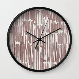 Simply Bamboo Brushstroke Red Earth on Lunar Gray Wall Clock