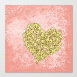 Gold butterflies heart and peach texture Canvas Print