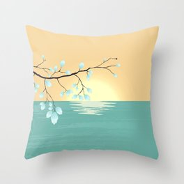 Delicate Asian Inspired Image of Pastel Sky and Lake with Silver Leaves on Branch Throw Pillow