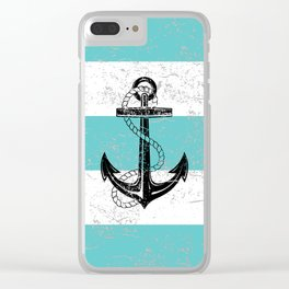 Vintage anchor beach background Clear iPhone Case