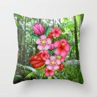 emoji Throw Pillows featuring Flower Emoji by jajoão