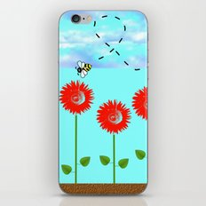Sunflowers and bee iPhone & iPod Skin