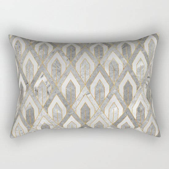 Art Deco Marble Pattern Rectangular Pillow