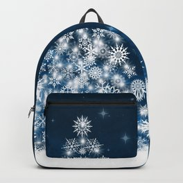 Blue Christmas Eve Snowflakes Winter Holiday Backpack