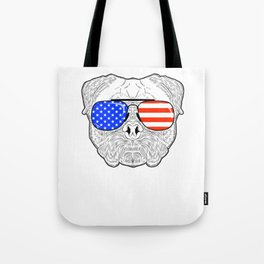 Patriotic July 4th American Flag Pug Dog Face with Sunglasses for Independence Day Celebrations Tote Bag