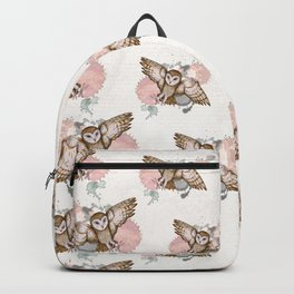 Attacking barn owl watercolor Backpack