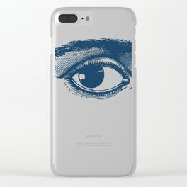 I see you. Navy Blue on Cream Clear iPhone Case