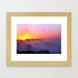 Sunrise with morning fog at a River in Africa  Framed Art Print