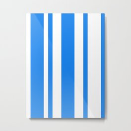 Mixed Vertical Stripes - White and Dodger Blue Metal Print