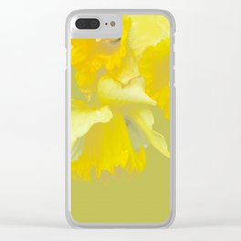 Sign of Spring - Yellow Narcissus on Spring Green Background #decor #society6 #buyart Clear iPhone Case