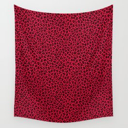 RED LEOPARD PRINT – Cherry Red | Collection : Punk Rock Animal Prints. Wall Tapestry