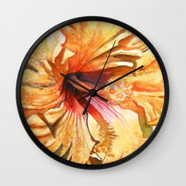 Tropical Yellow Hibiscus Wall Clock