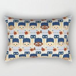 Baseball Pinstripes White and Blue - Super Cute Sports Stars Rectangular Pillow