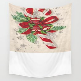 A Vintage Merry Christmas Candy Cane Wall Tapestry
