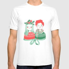 Christmas time White MEDIUM Mens Fitted Tee