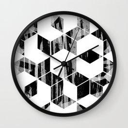 Elegant Black and White Geometric Design Wall Clock