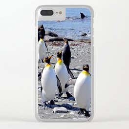 King Penguins on the Beach Clear iPhone Case