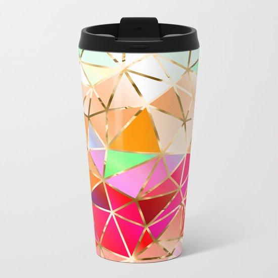 Rainbow Geometric Pattern #7 Metal Travel Mug