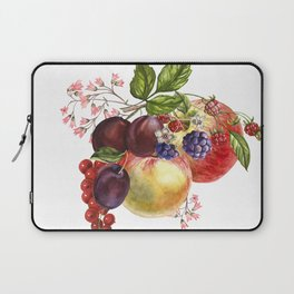 Composition of realistic fruits on a white background in vintage style. Apples, raspberries, plums, Laptop Sleeve