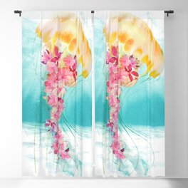 Jellyfish with Flowers Blackout Curtain
