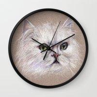 persian Wall Clocks featuring Persian cat by Pendientera