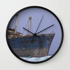 Blue boat colors fashion Jacob's Paris Wall Clock