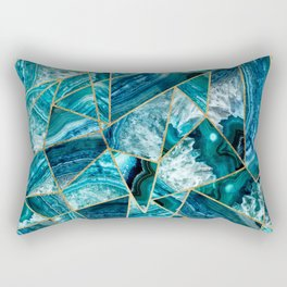 Turquoise Navy Blue Agate Black Gold Geometric Triangles Rectangular Pillow