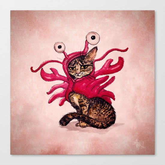 """""""Ma'ama Lisa"""" by Amber Marine ~ Lobster Cat, Watercolor and Ink, (c) 2015 Canvas Print"""